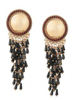 Rhinestone Resin Fringed Round Earrings - Black