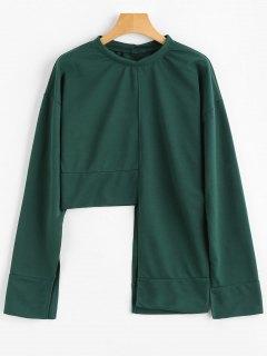 Slit Sleeve Asymmetric Sweatshirt - Green S