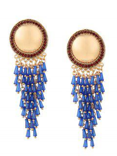 Rhinestone Resin Fringed Round Earrings - Blue