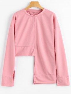 Slit Sleeve Asymmetric Sweatshirt - Pink S
