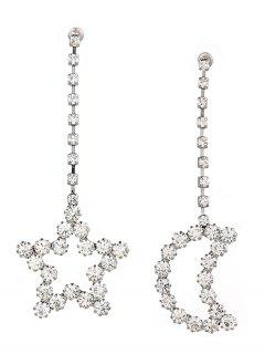 Sparkly Rhinestone Moon Star Chain Earrings - Silver