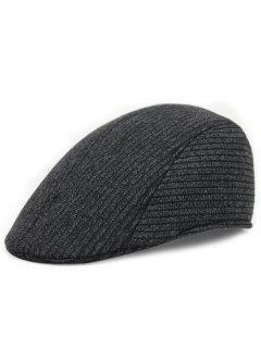 Retro Stripe Pattern Knitting Duckbill Hat - Black