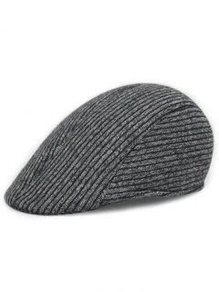 Retro Stripe Pattern Knitting Duckbill Hat - Dark Gray