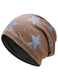 Simple Star Pattern Reversible Lightweight Beanie - Khaki