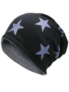 Simple Star Pattern Reversible Lightweight Beanie - Black