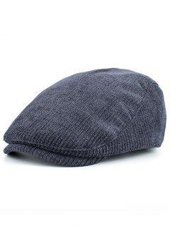 Striped Pattern Embellished Adjustable Newsboy Hat - Cadetblue