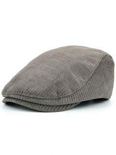 Striped Pattern Embellished Adjustable Newsboy Hat - Gray