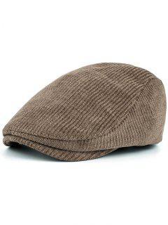 Striped Pattern Embellished Adjustable Newsboy Hat - Khaki