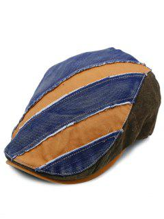 Denim Color Splice Embellished Adjustable Cabbie Hat - Pattern D