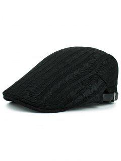 Multipurpose Striped Pattern Knit Cabbie Hat - Black