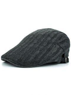 Multipurpose Striped Pattern Knit Cabbie Hat - Gray