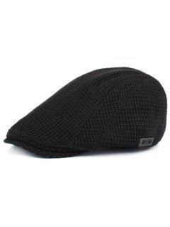 Simple Corn Shape Embellished Duckbill Hat - Black