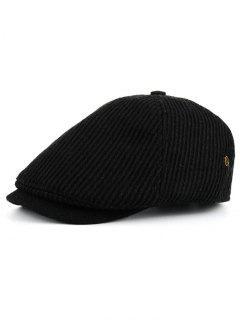 Vertical Striped Pattern Embellished Newsboy Hat - Black