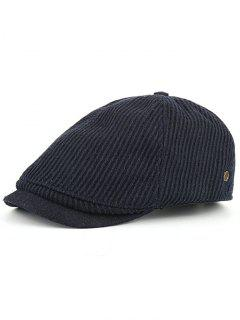 Vertical Striped Pattern Embellished Newsboy Hat - Cadetblue