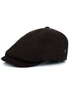 Vertical Striped Pattern Embellished Newsboy Hat - Coffee