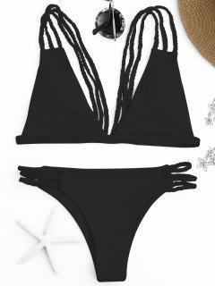 Niedrig Geschnittener Strappy Bralette Bikini - Schwarz S