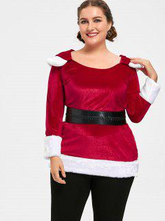 Christmas Plus Size Two Tone Hoodie - Red And White 5xl