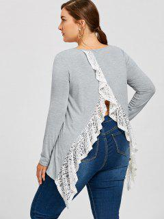 Plus Size Asymmetric Lace Trimmed Back Split Top - Gray 4xl