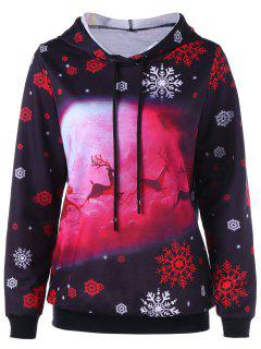 Christmas Snowflake And Deer Print Drawstring Hoodie - Black L