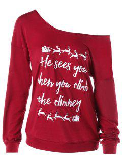 Christmas Graphic Print Skew Neck Pullover Sweatshirt - Red Xl