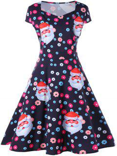 Christmas Santa And Flower Print Flare Dress - Black Xl