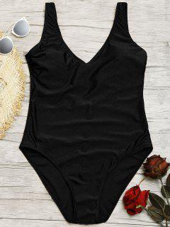 Shiny One Piece Swimsuit - Black L