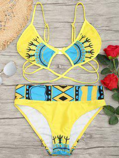 Conjunto De Bikini De Corte Alto Con Estampado En Jaula - Amarillo S