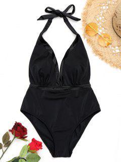 High Cut Open Back One Piece Swimwear - Black M