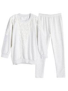 Crochet Panel Sweatshirt With Pants Gym Suit - White Grey M