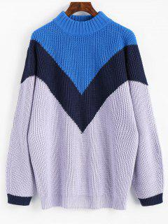 Hoher Hals Kontrast Chunky Pullover - Multi