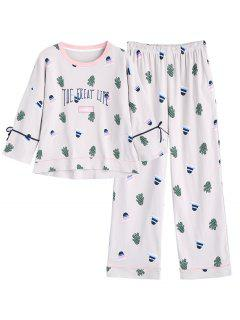Cactus Print Top With Pants Loungewear Set - Light Gray M