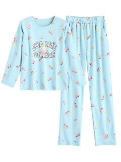 Cherry Top With Pants Loungwear Suit - Light Green M