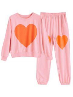 Heart Pattern Top With Pants Loungewear Set - Pink M