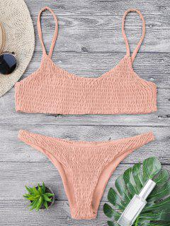 Smocked Bikini Top And Bottoms - Pink S