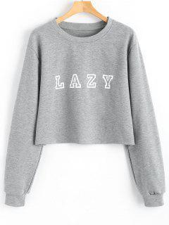 Sweatshirt Mit Drop Schulter Und Buchstabe Muster  - Grau Xl