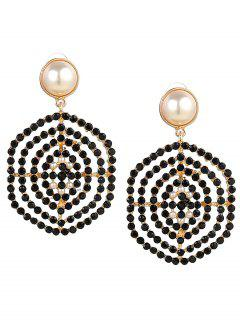 Rhinestone Faux Pearl Hexagon Earrings - Black