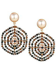 Rhinestone Faux Pearl Hexagon Earrings - Floral