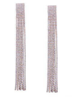 Statement Rhinestoned Fringed Chain Earrings - Golden