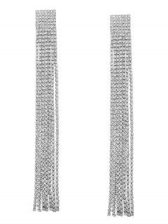 Statement Rhinestoned Fringed Chain Earrings - White