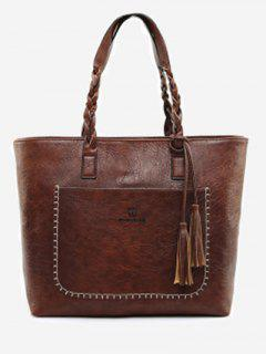 Braid Tassels Whipstitch Tote Bag - Deep Brown