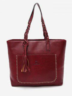 Braid Tassels Whipstitch Tote Bag - Red