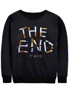 Cigarette Graphic Crew Neck Sweatshirt - Black L