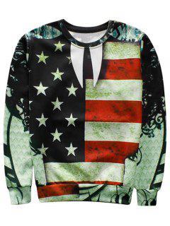 American Flag Crew Neck Sweatshirt - M