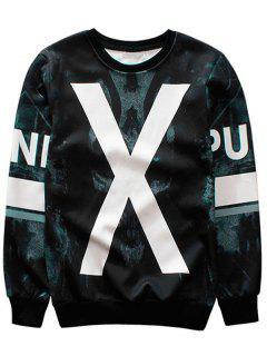 Sweat-shirt à Col Ras Du Cou à Motif - Noir 2xl