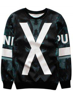 X Graphic Crew Neck Sweatshirt - Black L