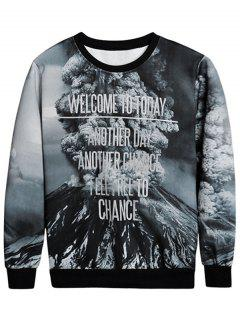 Mountain Print Crew Neck Sweatshirt - L