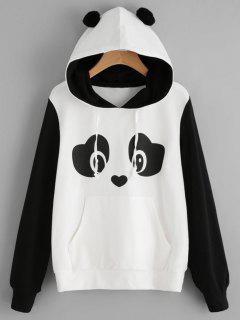Panda Face Kangaroo Pocket Hoodie - Black White M