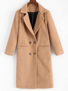 Double Breasted Lapel Coat With Pockets - Light Camel S
