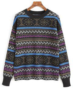 Crew Neck Graphic Sweater - Multi