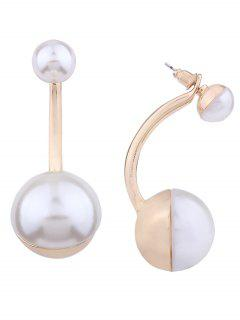 Artificial Pearl Front And Back Ear Jackets - Golden
